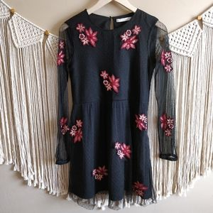ZARA Black Embroidered Floral Red Lace Dress XS